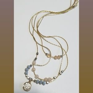 Gold Layered Beaded Dainty Necklace